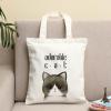 韩版文艺帆布包女单肩包字母帆布袋简约猫咪潮学生书包便当补习袋