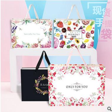 现货水果茶服装礼品袋小清新高档生日包装袋子批发定制纸袋手提袋