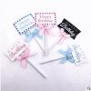 蛋糕插牌烘焙蛋糕装饰牌棒棒糖写字牌生日快乐黑色蝴蝶结一份5个