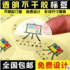 定制透明不干胶标签贴纸定做透明pvc贴纸透明烫金logo贴纸印刷