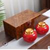 高档金丝楠木纹茶叶礼盒包装半斤装金属头密封陶瓷罐定制通用双罐