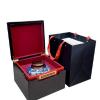 定制高档红酸枝纹茶叶礼盒包装陶瓷罐铁盖双罐翻盖安吉白茶空木盒