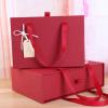 伴手礼礼盒包装创意抽屉盒大红色手提 高档喜庆回礼盒口红礼物盒