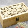 新款竹木材质精油盒25格精油收纳箱陈列盒竹盒四叶草镂花精油盒