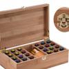 新款竹木材质精油盒25格精油收纳箱陈列盒竹盒实木木盒