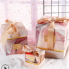 粉色正方形玉玺盒伴娘回礼绒布蝴蝶结伴手礼礼盒透明袋年货礼物盒