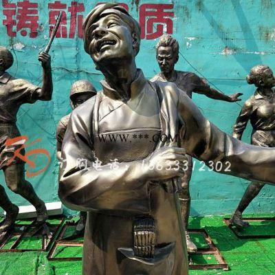 浙江康大雕塑 玻璃钢仿铜托盘小二迎宾人物雕塑