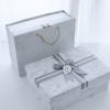 高档围巾包装礼盒现货大理石纹天地盖包装盒定制蝴蝶结丝带礼品盒