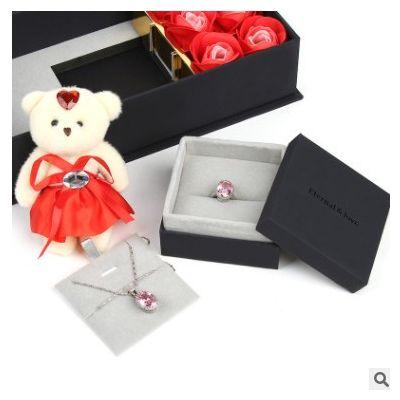 小熊玫瑰花礼盒戒指盒项链盒送女友生日礼物创意首饰包装盒子