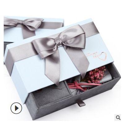 情人节项链抽屉式鲜花盒永生花盒定制首饰盒七夕节蝴蝶结干花礼盒