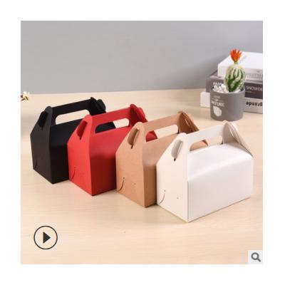手提折叠包装纸盒定做 食品外卖牛皮纸盒 纸盒定制logo
