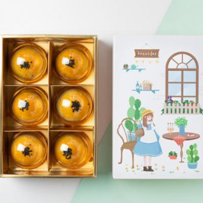 蛋黄酥包装盒 手提烫金月饼绿豆糕雪花酥礼盒 中秋烘焙盒子 6粒装