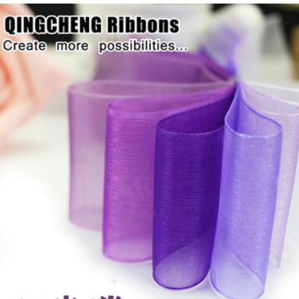 现货批发半透明雪纱带 紫色系鲜花礼盒包装彩带 婚庆DIY饰品丝带