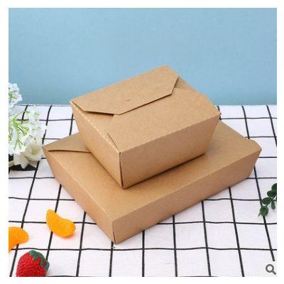 直供一次性方盒寿司外卖打包纸盒沙拉外卖油炸包装牛皮纸盒餐盒