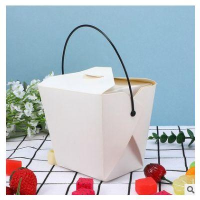 一次性白色手提牛皮纸餐盒快意面鸡米花包装盒打包外卖盒印logo