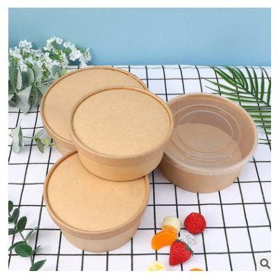 一次性牛皮纸汤桶圆形加厚打包盒外卖沙拉粥桶快餐盒创意纸碗批发