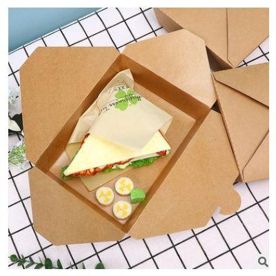 厂家批发一次性牛皮纸餐盒加厚打包盒外卖防油炸鸡纸盒纸碗印logo