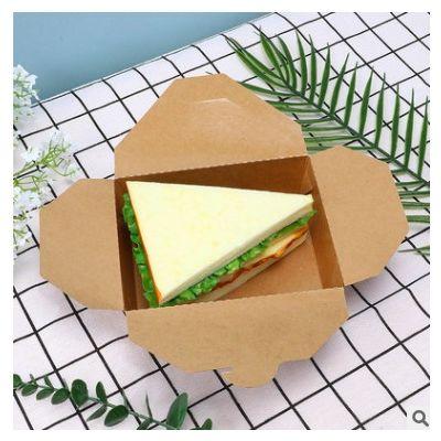 厂家直供牛皮纸餐盒一次性加厚打包盒水果沙拉外卖纸盒纸碗印刷
