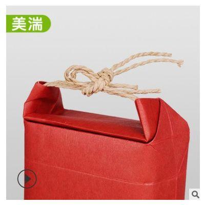 厂家直销 牛皮纸包装袋散装大米杂粮红枣茶叶手提礼品袋 现货批发