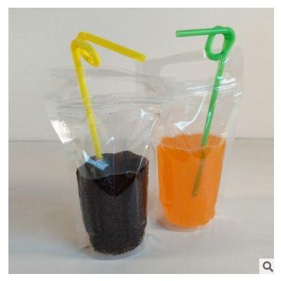 厂家批发 多规格自立透明手提饮料袋 透明果汁袋 奶茶饮料包装袋