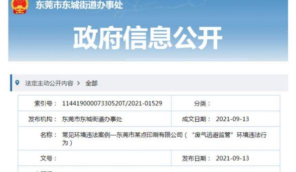 废气设施未运转 一印企被罚300000元